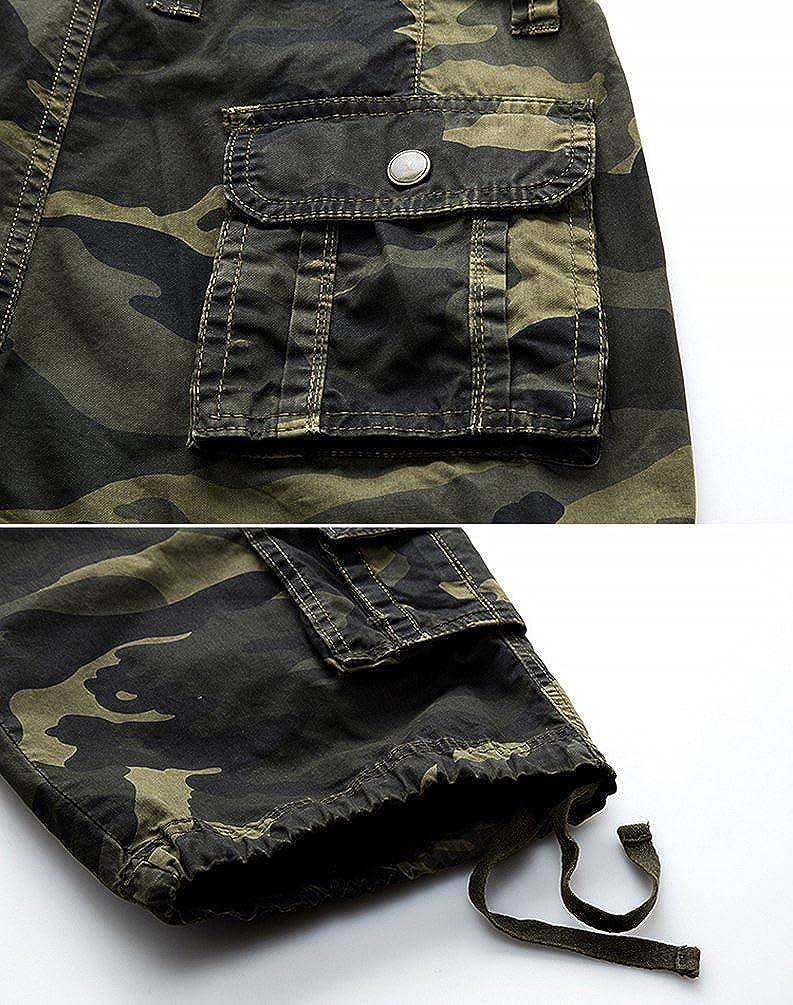 Zhiyuanan Uomo Camouflage Cargo Shorts Bermuda Militare Pantaloncini Allentati Casuali
