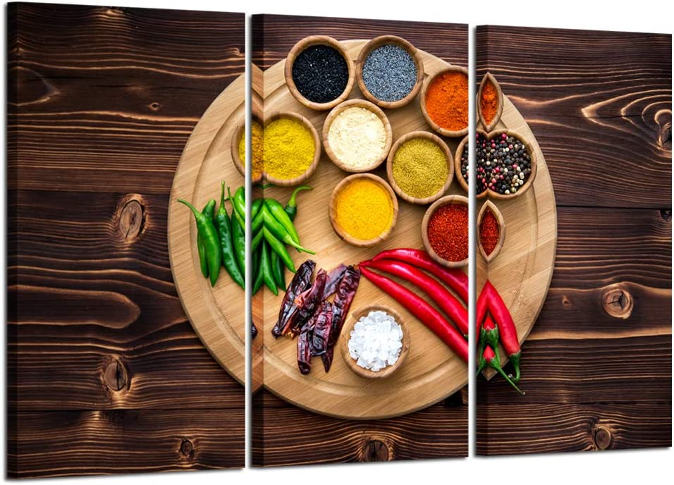 Kreative Arts Large 3 Pieces Kitchen Pictures Wall Decor Colorful Spice Vintage Canvas Wall Art Food Photos Painting on Canvas Prints Stretched Framed Home Decoration Ready to Hang 16x32inchx3pcs