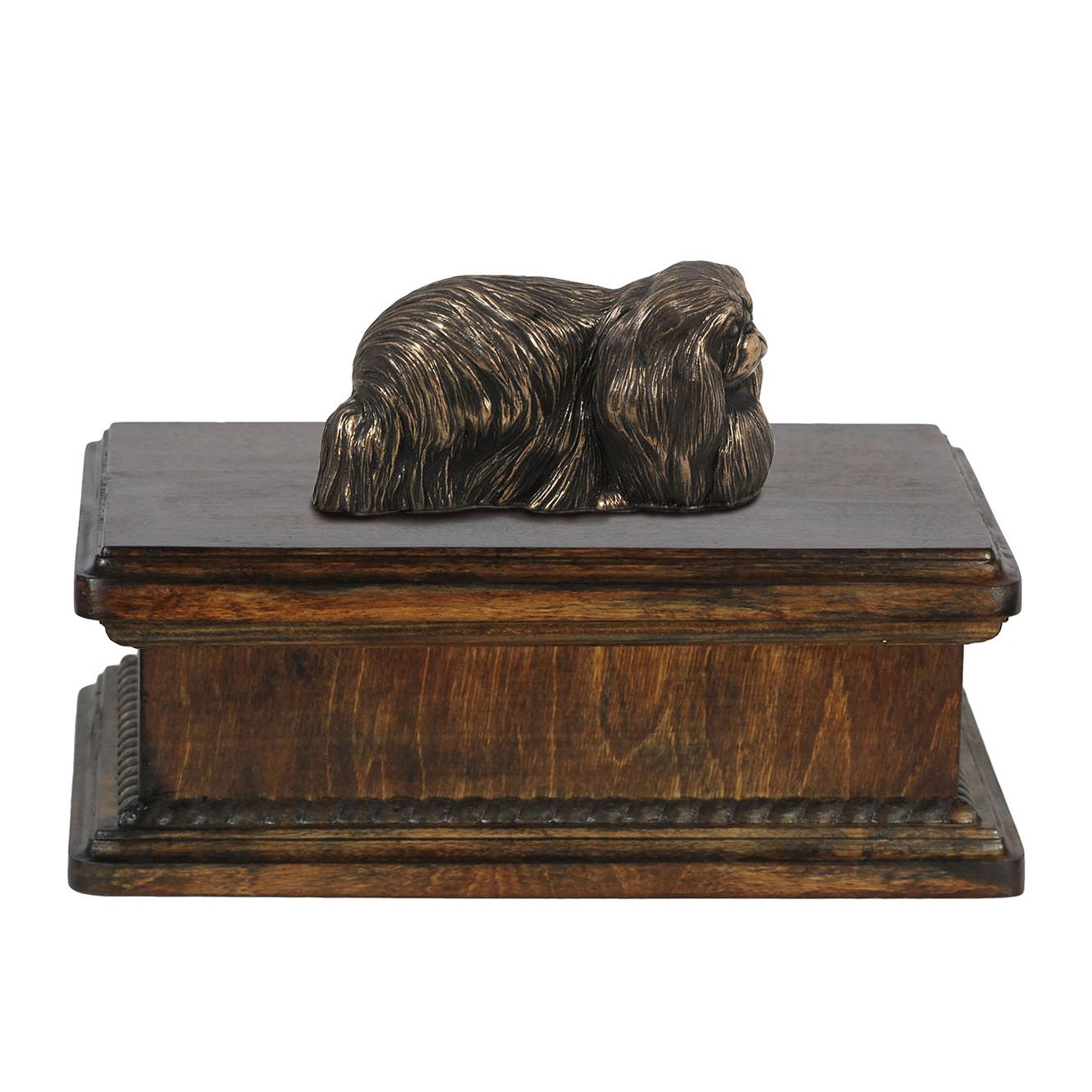 Pekingese, memorial, urn for dog's ashes, with dog statue, exclusive, ArtDog