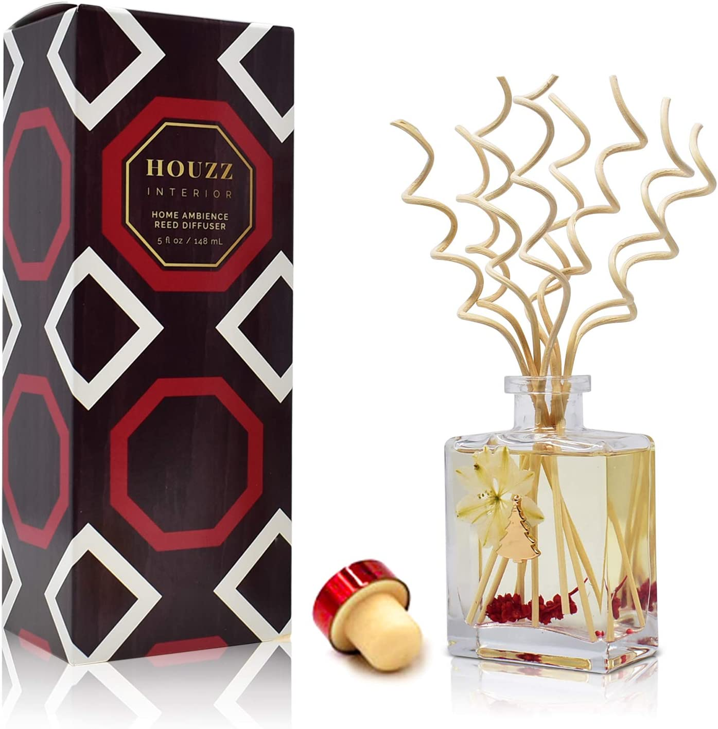 HOUZZ Interior Holiday Cheer Reed Diffuser Oil Set – Cranberry, Cinnamon, Evergreen, Cedar and Smoky Wood Notes – Beautiful Display for Your Holiday Decor – Natural Essential Oil Room Scent