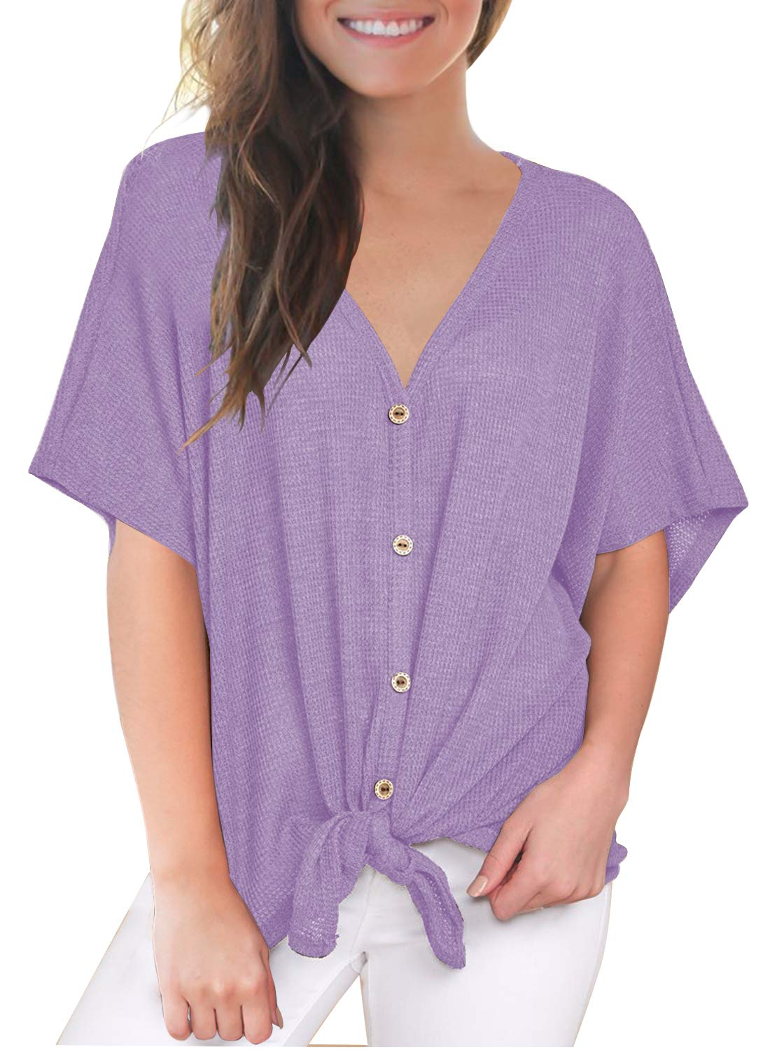 MIHOLL Henley Shirts for Women Short Sleeve V Neck Button Down Tie Front Knot Loose Tops (X-Large, Light Purple)