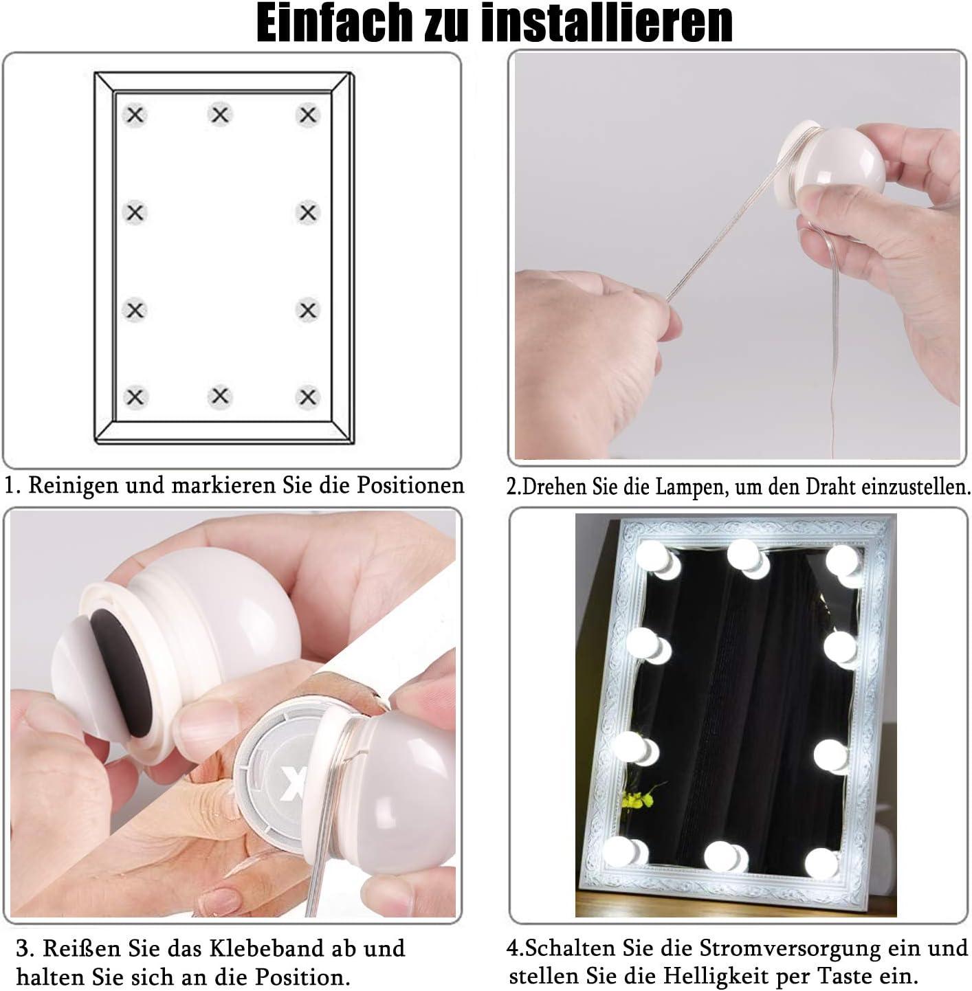 Luces de Espejo Maquillaje QYH 10 bombillas Hollywood Kit de luz LED regulable L/ámpara de espejo cosm/ética para ba/ño 5 colores 5 niveles de brillo con cable USB