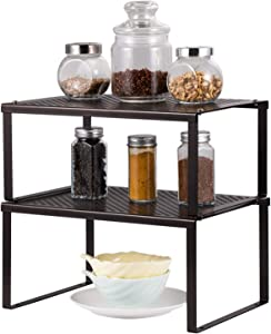 NEX Kitchen Cabinet And Counter Shelf Organizer, Expandable & Stackable, Black