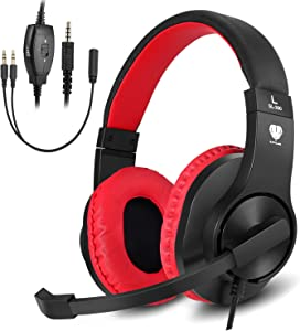 BUTFULAKE Stereo Gaming Headset for PS4, Xbox One, Nintendo Switch, Adjustable Earmuffs and Over-All Noise Isolation, Lightweight 3.5mm Wired Volume Control with Mic for Laptop PC (Black-red)
