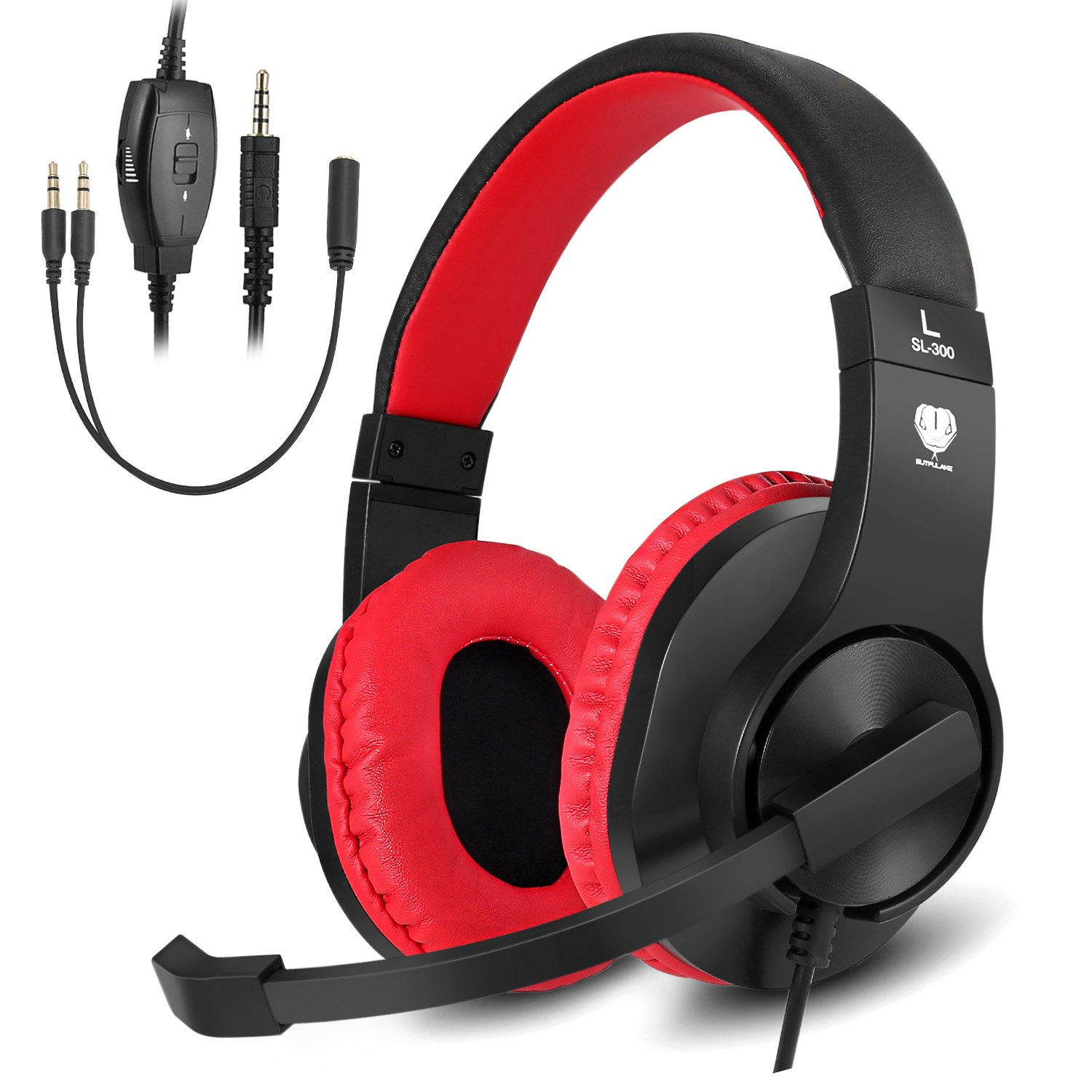 BUTFULAKE Stereo Gaming Headset for PS4, Xbox One, Nintendo Switch, Adjustable Earmuffs and OVER-ALL Noise Isolation, Lightweight 3.5mm Wired Volume Control with Mic for Laptop PC (Black-red) by BUTFULAKE