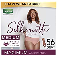 Depend Silhouette Incontinence & Postpartum Underwear for Women, Maximum Absorbency, Disposable, Medium, Pink, 56 Count (2 Packs of 28) (Packaging May Vary)