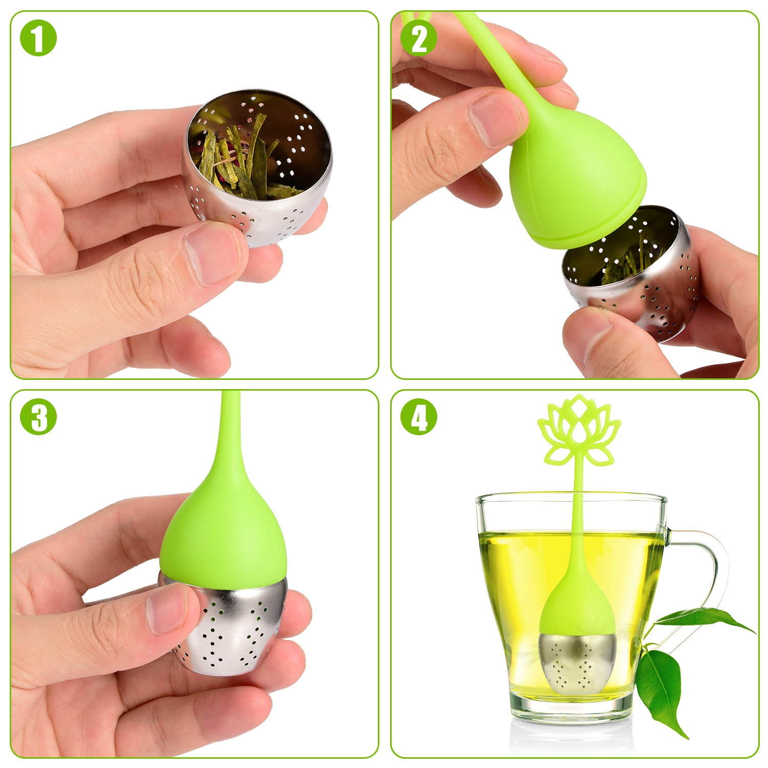 Tea Infuser Reusable Tea Ball Herbal Tea Strainers for Herbal Weight Loss Tea Houswill/™ 4 Pack Silicone Tea Infuser for Loose Tea Tea filters with Handle/& Stainless Steel with Drip Tray