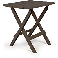 Camco 51886 Mocha Large Adirondack Portable Outdoor Folding Side Table, Perfect for The Beach, Camping, Picnics, Cookouts and More, Weatherproof and Rust Resistant