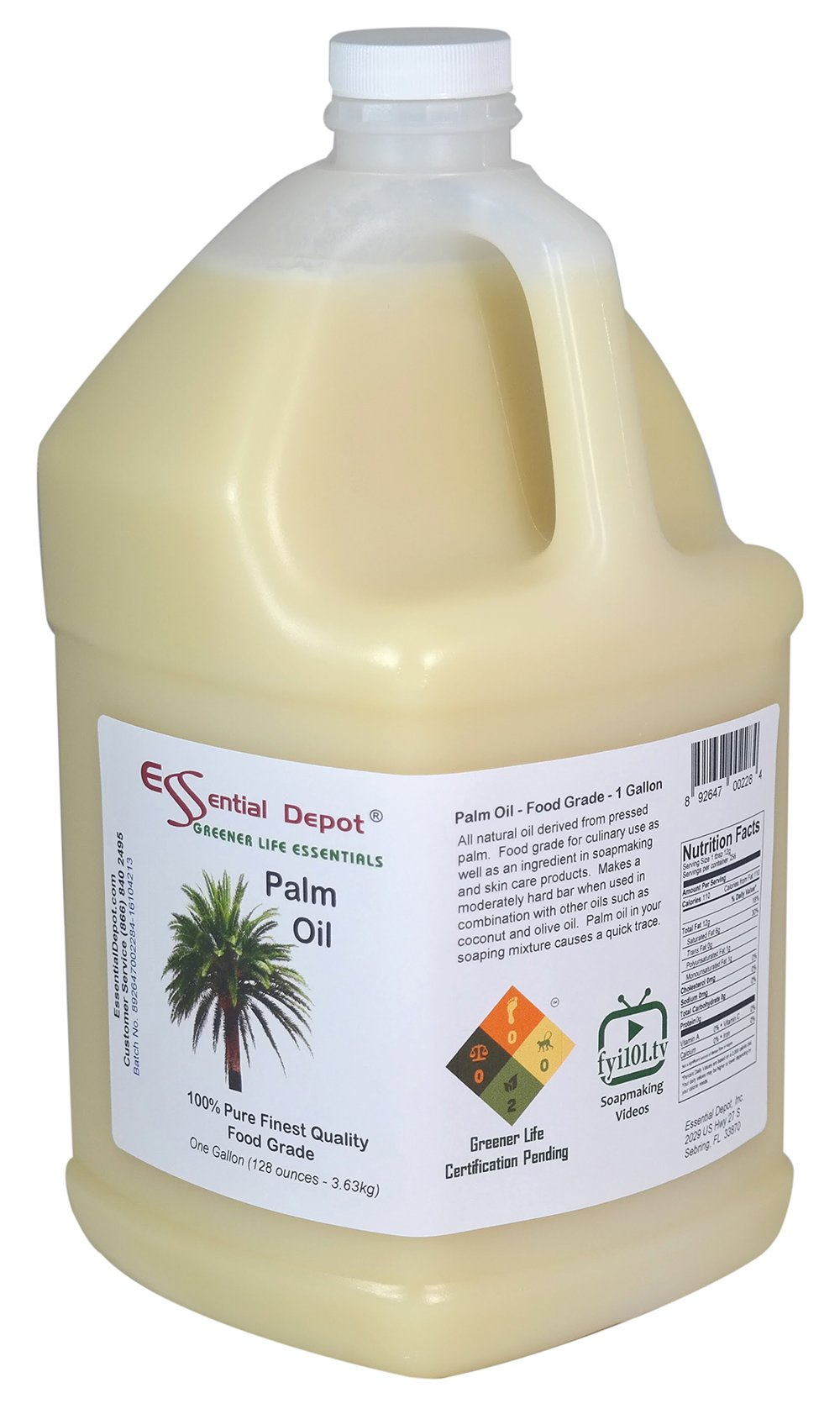 Palm Oil - RSPO Certified - Sustainable - Food Safe - 1 Gallon