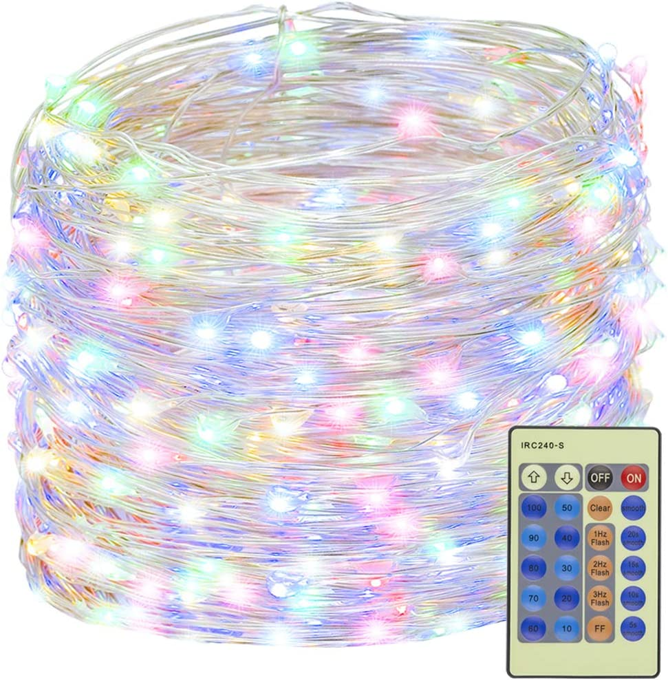 Decute 300 LED Fairy String Lights Multi-Color Christmas Lights Remote Control, 99ft Silver Wire Firefly Lights Starry Light for DIY Christmas Tree Costume Wedding Party Table Centerpiece Decor