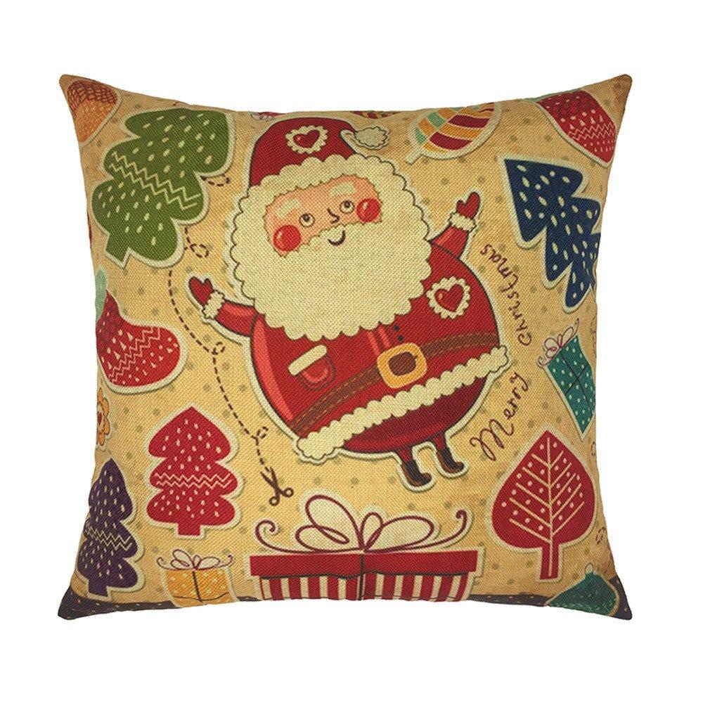 Happy Christmas Pillow Cases Linen Sofa Cartoon Cushion Cover Home Decoration