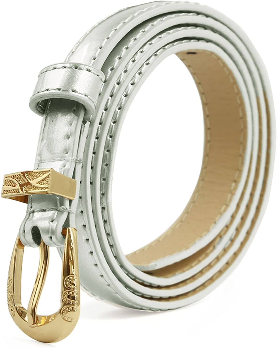uxcell Womens Patent Leather PU Skinny Waist Belt for Jeans with Alloy Buckle