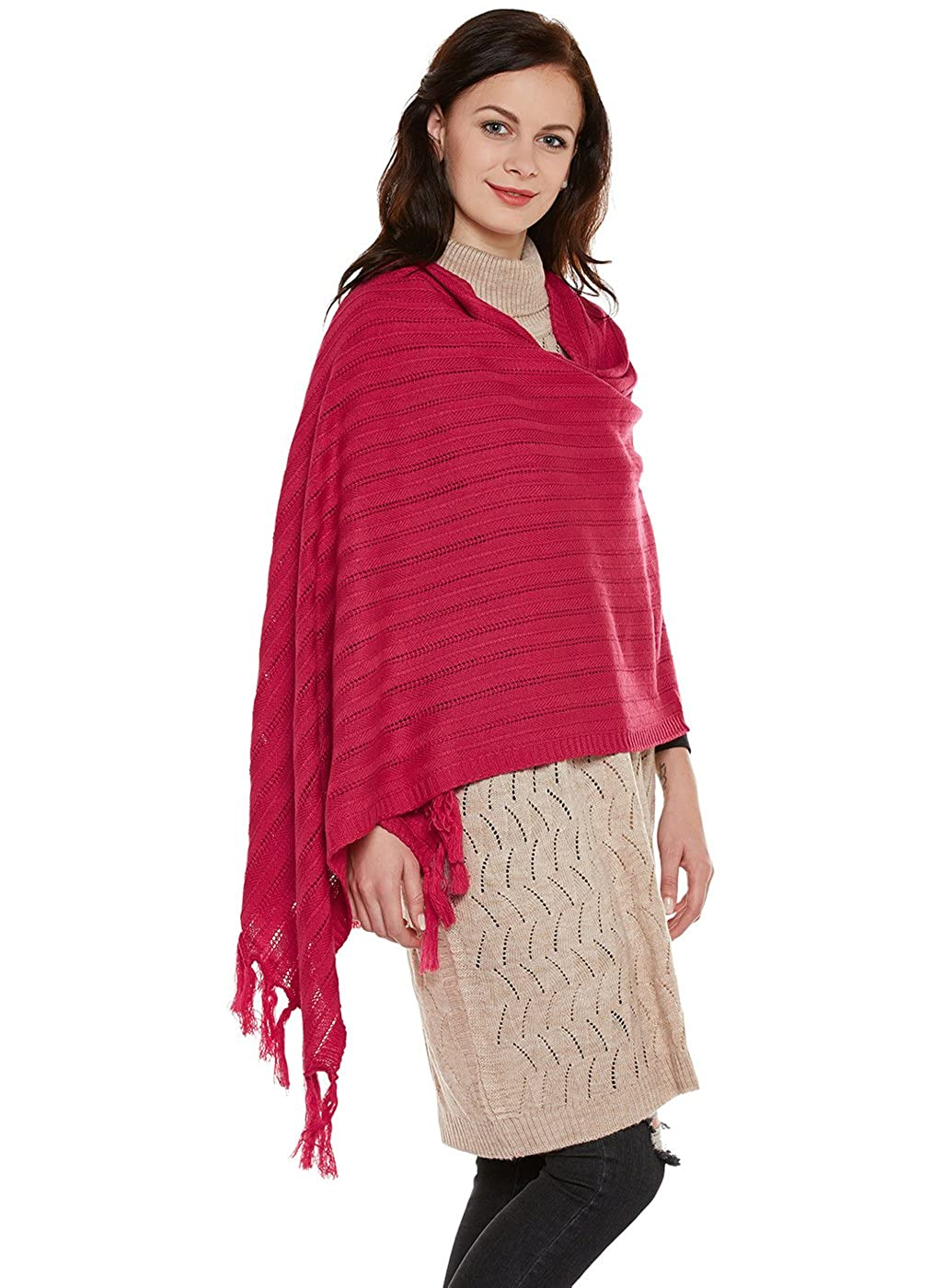 51c3261ce Cayman Hot Pink Solid Woolen Stole  Amazon.in  Clothing   Accessories