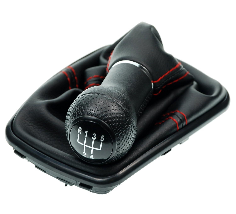 L/&P Car Design GmbH 251-3 Funda para Palanca de Cambio con Costura Roja con Pomo y Marco Negro