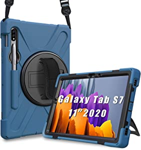 ProCase Galaxy Tab S7 11 Inch Case 2020 T870 T875 T878 with S Pen Holder, Rugged Heavy Duty Shockproof Rotating Kickstand Protective Cover for Galaxy Tab S7 11