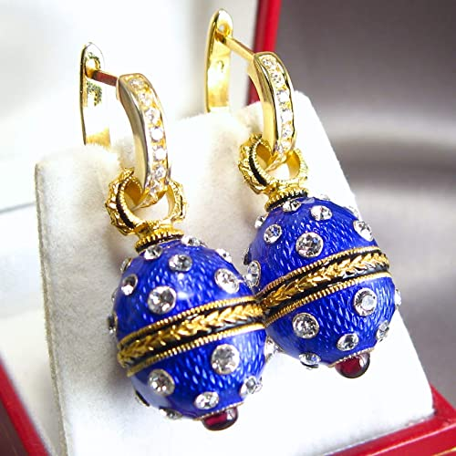 24d311962 EARRINGS BLUE ENAMEL Guilloché Russian Faberge Style Egg-shaped 925 Sterling  Silver 24k Gold Vermeil Natural Garnets Swarovski Crystals Silver Hoops  with ...
