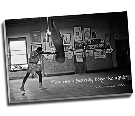 Panther print black white muhammad ali champion quote float like a butterfly canvas print wall art