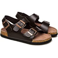 UGG Summer Sandals Women Leather Cork Footbed with Buckle Flats Shoes Oak