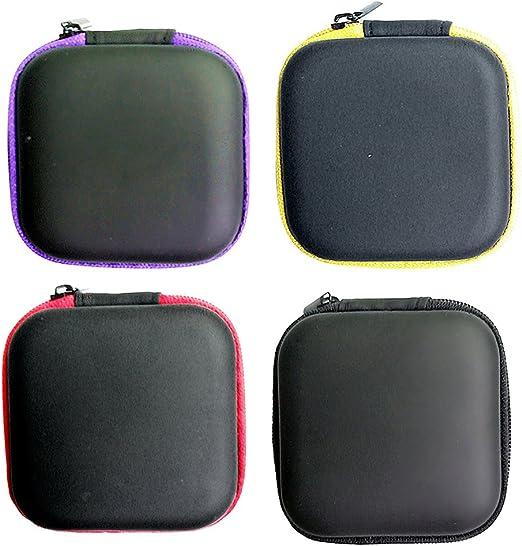 UKCOCO 4pcs Multi-Use Auriculares Poseedor Bolso USB Cable Auriculares Estuche de Viaje Organizador de Viajes Bolsa Cuadrada (Negro + Rojo + Púrpura + Amarillo): Amazon.es: Hogar