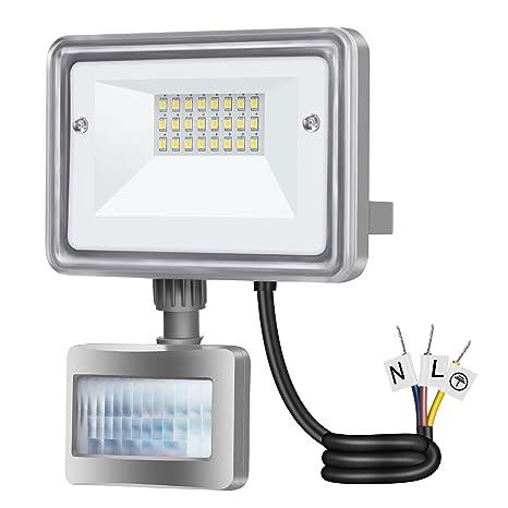 Gosun 10W Foco Proyector LED con Sensor de Movimiento 950LM, 100W SAP, DC 12