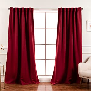 Best Home Fashion Premium Blackout Curtain Panels - Solid Thermal Insulated Window Treatment Blackout Drapes for Bedroom - Back Tab & Rod Pocket – Cardinal Red - 52