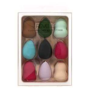 Revele Pack of 9 Assorted Colors Latex Free Beauty Blending Cosmetic Sponges, Makeup Sponge, Beauty Sponge, Blending Sponge, Foundation Sponge