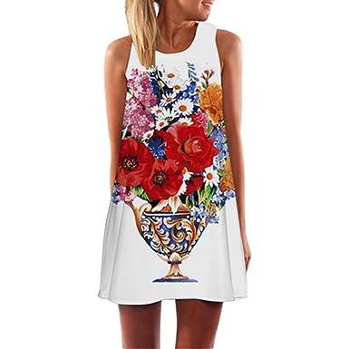 c7025ec478 world-palm Vintage Boho Summer Sleeveless 3D Floral Print Dress Bohe ...