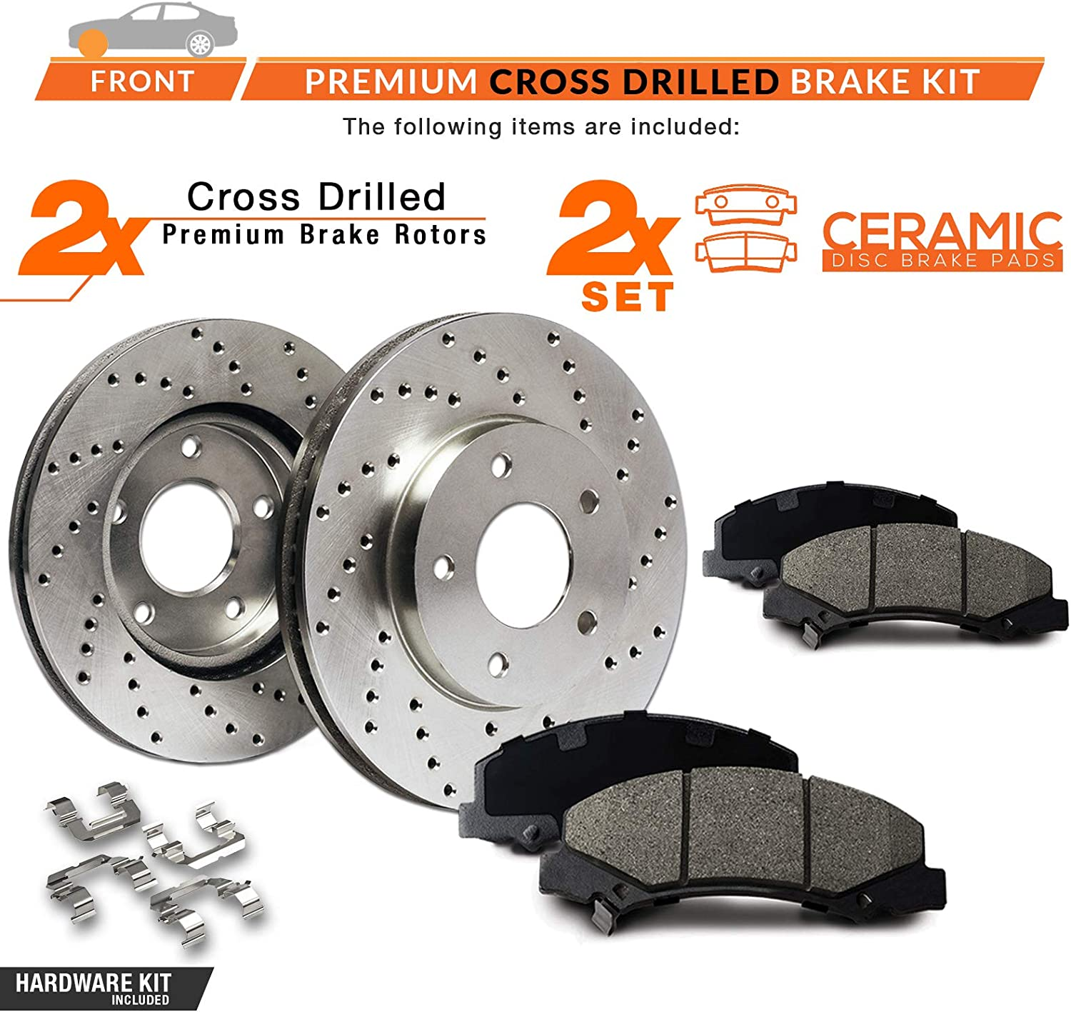 Max Brakes Premium XD Rotors with Carbon Ceramic Pads and Hardware Kit KH060821 Front