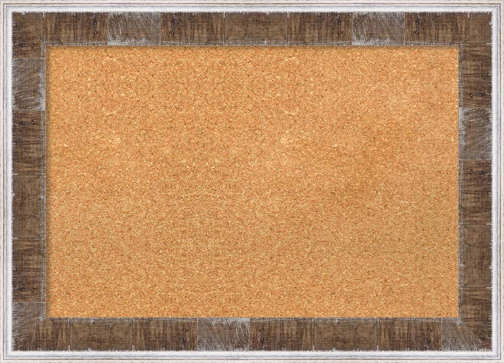 Amanti Art Natural Cork Farmhouse Brown Narrow Framed Bulletin Boards, 29 x 21,