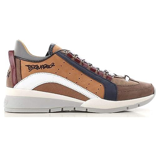 DSQUARED - Zapatillas para Hombre Marrón Testa Di Moro - Cuoio - Bianco Marrón Size: 42.5 EU: Amazon.es: Zapatos y complementos