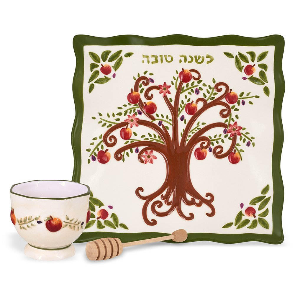 Rosh Hashanah Honey Dish - Ceramic Plate & Bowl Set With Tree of Life Design, Includes Wooden Dipper Aviv Judaica