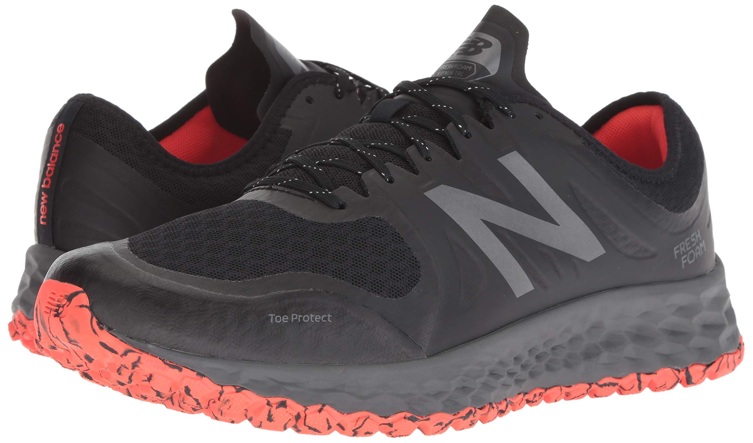 New Balance Men's Kaymin V1 Fresh Foam Trail Running Shoe, Black/Flame/Reflective, 7 D US by New Balance (Image #6)