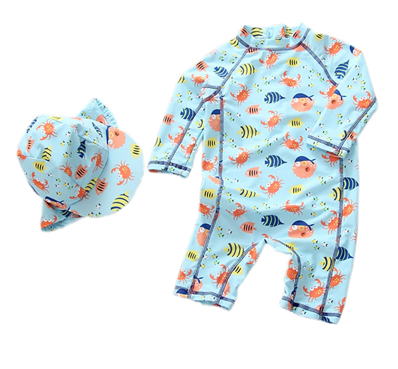 Sun Protective Baby Boys Swimsuit Toddlers One Piece Swimwear with Hat Shark Rash Guard UPF 50+