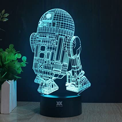 3d Lamp R2 D2 Table Night Light Force Awaken Model 7 Color Change