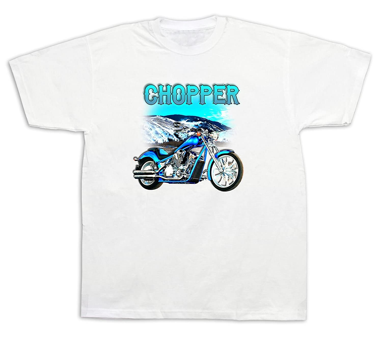 Motorcycle Blue Chopper honda Mountains Tshirts Vintage Custom Chrome Dirt