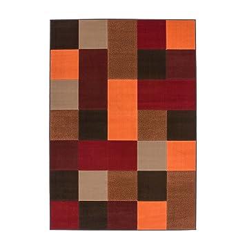 Amazon.de: Teppich Flachflor mit Modernen Design, Karo-Muster in Rot ...