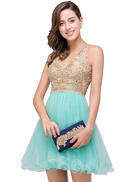 Babyonline Sexy Backless Organza Prom Dresses 2016 Short Cocktail Dress