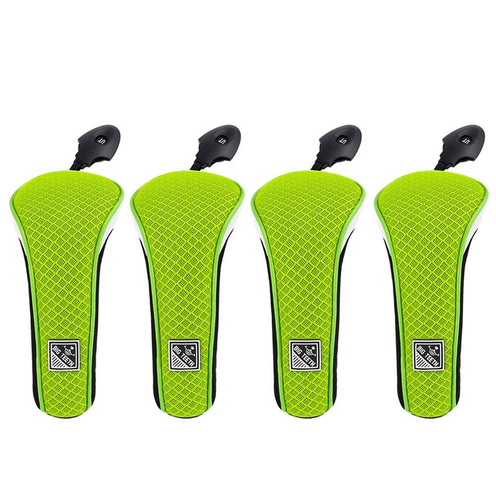 ビッグ歯アップグレード軽量メッシュゴルフハイブリッドヘッドカバーセットRescueユーティリティクラブx12プロテクター、交換可能な番号タグ( Neoグリーン)  4pcs(neo green) B077ZYP7XS