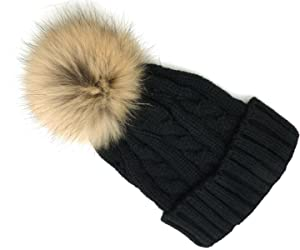Knitted Hat with Real Fur Pom Pom Detachable Beanie Winter Hats (3 Colors Available) (Black)