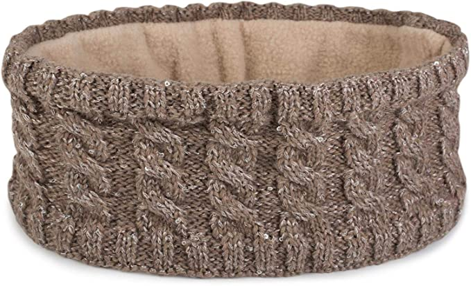 styleBREAKER Damen Strick Stirnband mit Zopfmuster und Pailletten ...
