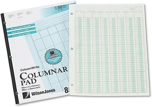 "8-1//2/"" x 11/"" Wilson Jones Columnar Pad ColumnWrite 50 Sheets per 3 Columns"