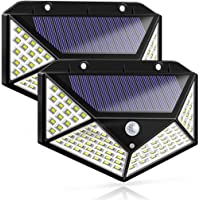 Epzia LED Solar Lights Outdoor,100 LED Motion Sensor Solar Security Lights, Outdoor Waterproof Solar Wall Light for Gate…