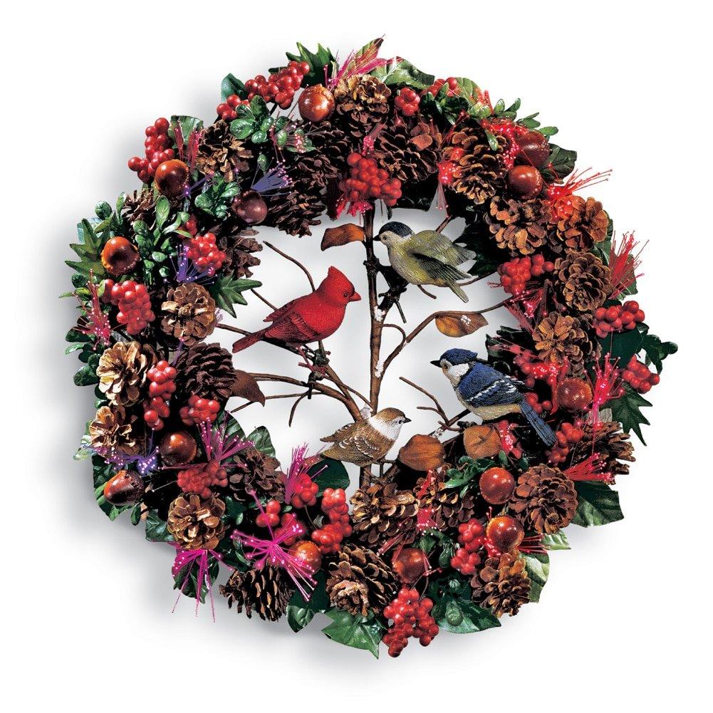 Fibre optic christmas flowers and xmas flowers - Fiber Optic Woodland Christmas Bird Wreath