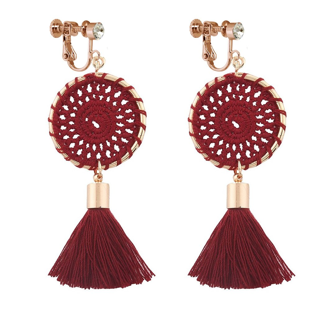 Dangle Rhinestone Clip on Earrings Handmade Bohemian Long Thread Tassel Vintage Ethnic Lucky Jewelry Red