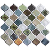 Peel and Stick Wall Tile for Kitchen Backsplash-Mist Color Arabesque Tile Backsplash, Kitchen Backsplash Tiles Peel and Stick