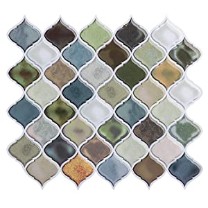 Peel and Stick Wall Tile for Kitchen Backsplash-Mist Color Arabesque Tile Backsplash-Kitchen Backsplash Tiles Peel and Stick Wall Stickers,6 Sheets