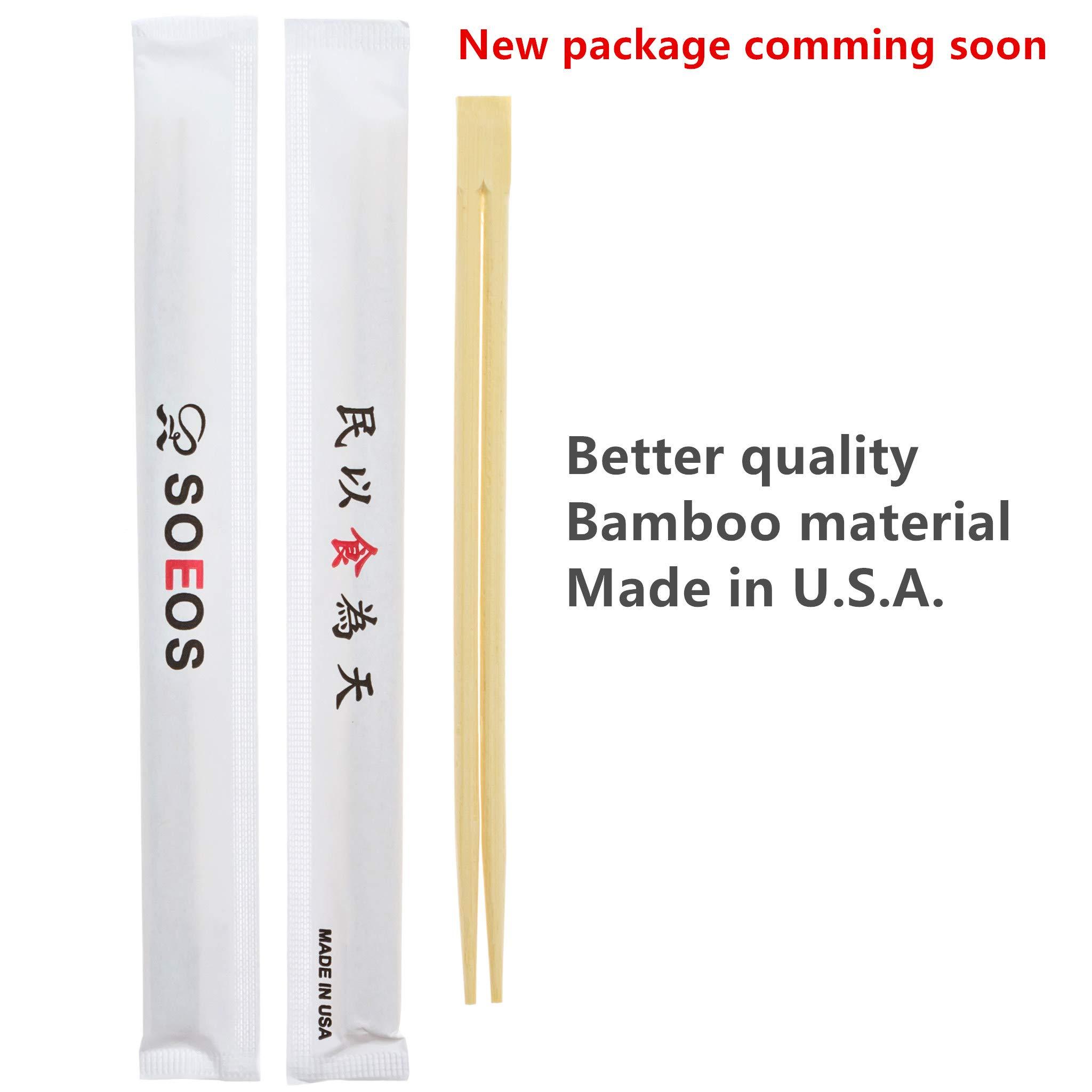 Premium Disposable Bamboo Chopsticks (500 sets), Japanese Disposable Chopsticks Bulk, 9'', Certified Quality by Soeos (Image #2)