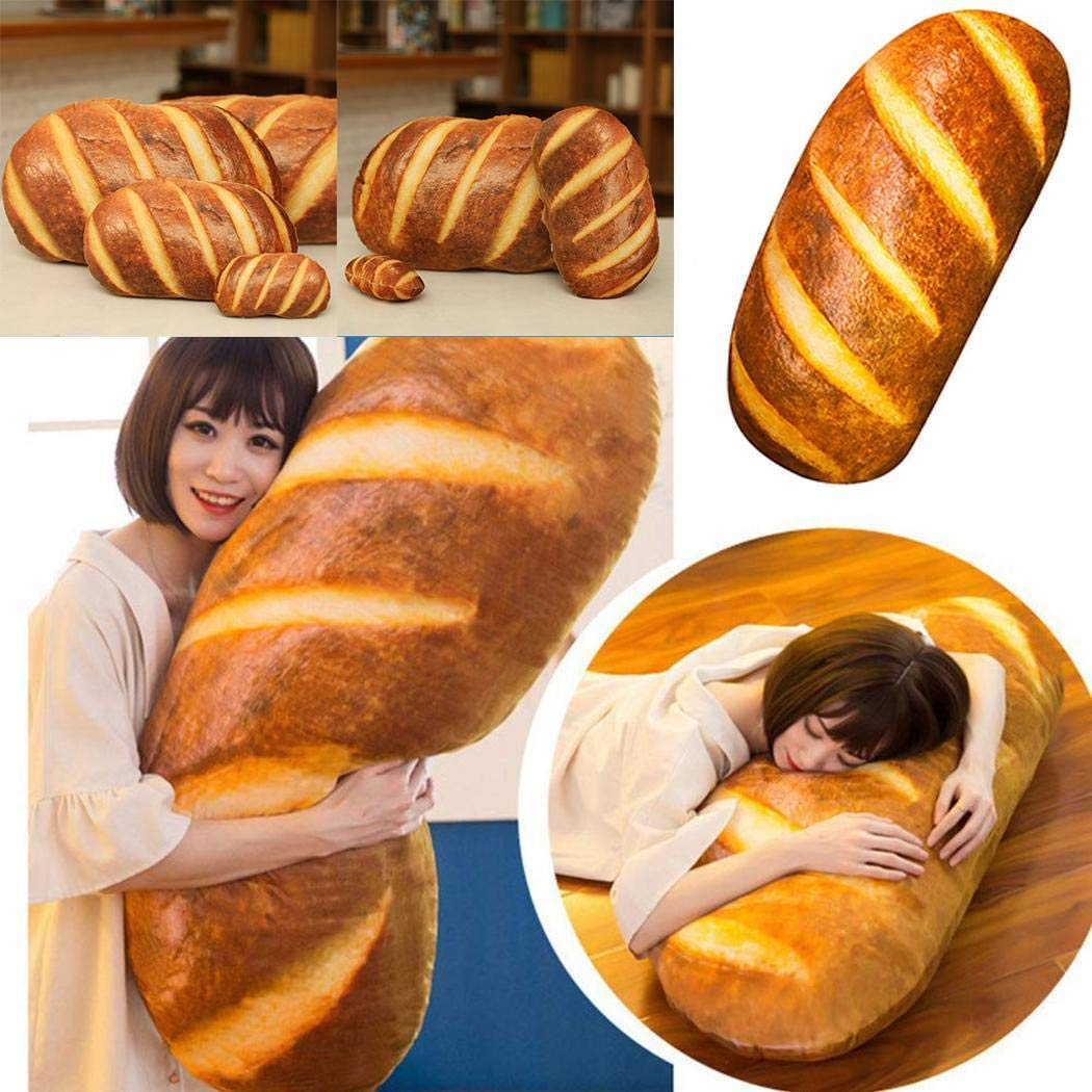 FANEO 3D HD Prints Butter Bread Shape Pillow Plush Toys for Home Decor Pillows