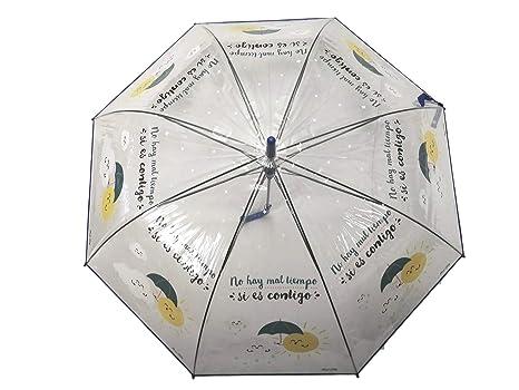 Paraguas Transparente Sol y Nube Frase No Hay Mal Tiempo si es contigo Regalo San Valentin