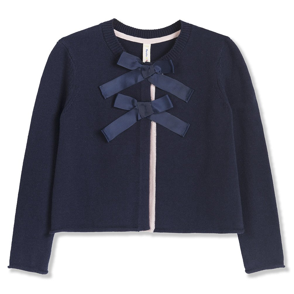 Benito & Benita Girl's Sweater Cardigan Cotton Bows Sweater Navy for9-10Y